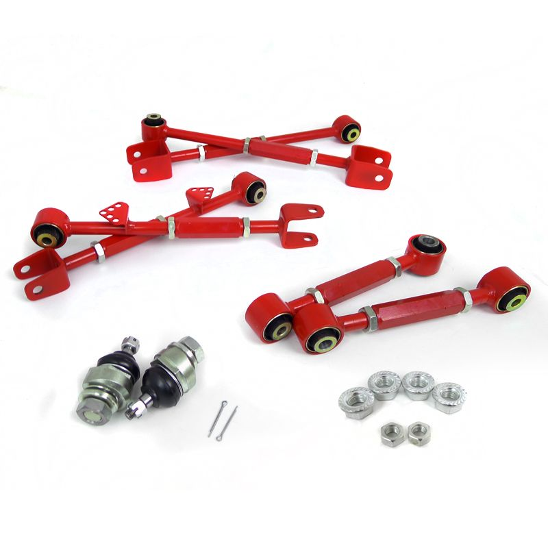 2008-2010 Honda Accord Red 8PC Camber Kit Front + Rear