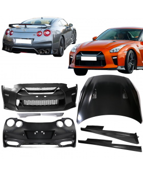 2009-2016 Nissan GTR R35 to 17+ MY17 Front & Rear Bumper & Hood Cover & Side Skirts - CB-A011889
