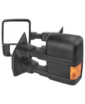 1999-2015 Ford F-250 SuperDuty Black Power + Heated w/Amber Signal Towing Mirrors  - RMX-F25099G2H-P-FS