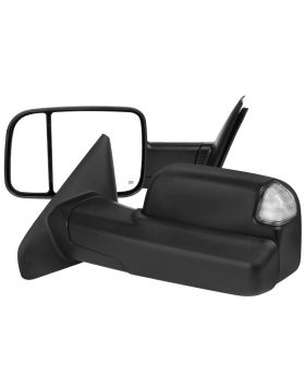 2002-2008 Dodge Ram 1500/2500/3500 Black Power + Heated w/Clear Signal Towing Mirrors  - RMX-RAM02HP-G1-FS
