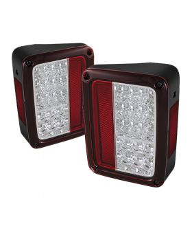 2007-2013 Jeep Wrangler Red/Clear LED Tail Lights - 111-JWA07-LED-RC