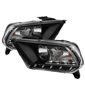 2010-2012 Ford Mustang Black LED DRL Crystal Headlights - 333-FM2010-DRL-BK