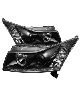2011-2013 Chevy Cruze Black Halo + LED DRL Projector Headlights - 444-CCRZ11-DRL