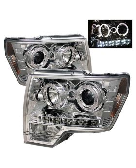 2009-2013 Ford F150 Chrome Halo Projector Headlights - 444-FF15009-HL-C