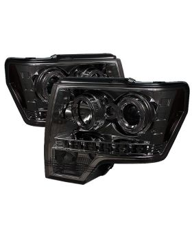2009-2013 Ford F150 Smoke Halo Projector Headlights - 444-FF15009-HL-SM