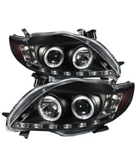 2009-2010 Toyota Corolla Black Halo + LED DRL Projector Headlights - 444-TC09-DR