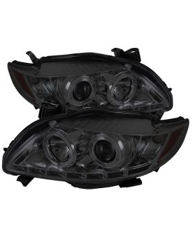2009-2010 Toyota Corolla Smoke Halo + LED DRL Projector Headlights - 444-TC09-DR