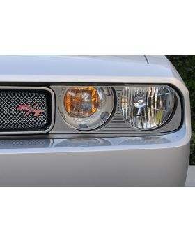 Challenger Headlight Bezel 09-14 Dodge Challenger Stainless Polished 2 Piece T1 Series T-REX Grilles - 11415