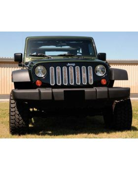 Wrangler Grille 07-17 Jeep Wrangler Stainless Polished 7 Piece Upper Class Series T-REX Grilles - 54481