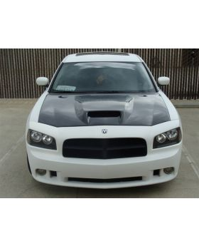 2006-2010 Dodge Charger SRT-8 Functional Ram Air Carbon Fiber Hood - TC20020-A23