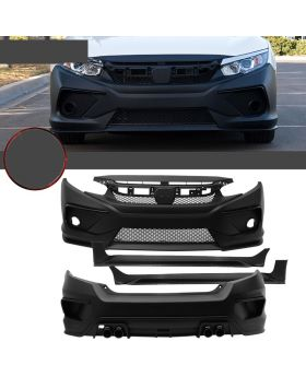 2016-2018 Honda Civic Coupe/HB/Sedan Concept Style Front + Rear Bumper Cover + Side Skirts - 8-BLK-HC16C-PP