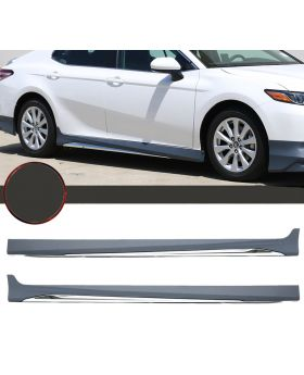 2018-2019 Toyota Camry LE MD Style Side Skirts With Chrome Trim - BLS-TCA18LEMD-PP