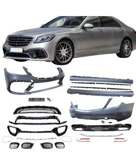 2017-2019 Mercedes S-Class S550/S600 W222 AMG Style Front + Rear Bumper Cover + Side Skirts - CB-A011851