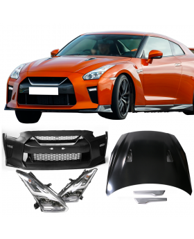 2009-2018 Nissan GTR R35 Front Bumper & Hood Cover & LED Headlights - CB-A011890