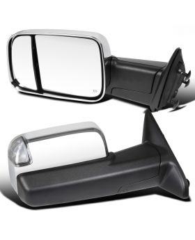 2009-2012 Dodge Ram 1500/2500/3500 Power w/Chrome Cover Towing Mirrors  - RMX-RAM09CR-AT-FS