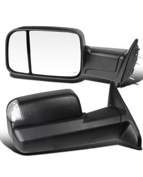 2013-2015 Dodge Ram 1500/2500/3500 Textured Black Towing Mirrors  - RMX-RAM13HP-AT-FS