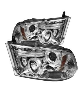 2009-2013 Dodge Ram 1500/2500/3500 Chrome Halo Projector Headlights - 444-DR09-H