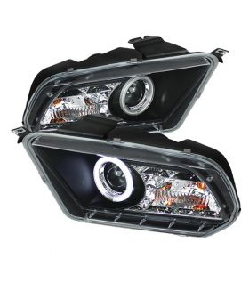 2010-2013 Ford Mustang Black CCFL Halo + LED DRL Projector Headlights - 444-FM20