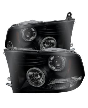 2009-2014 Dodge Ram 1500 DRL Halo Black Smoke Projector Headlights-PRO-YD-DR09-H