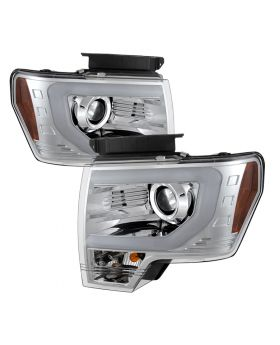 2009-2014 Ford F150 DRL Light-Bar Halo Chrome Projector Headlights-PRO-YD-FF1500
